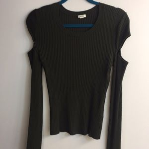 Green Long Sleeved ribbed cutout shoulder sweater
